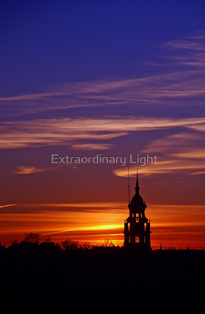 Lone Minaret of the Plaza de Espana at sunset by Extraordinary Light