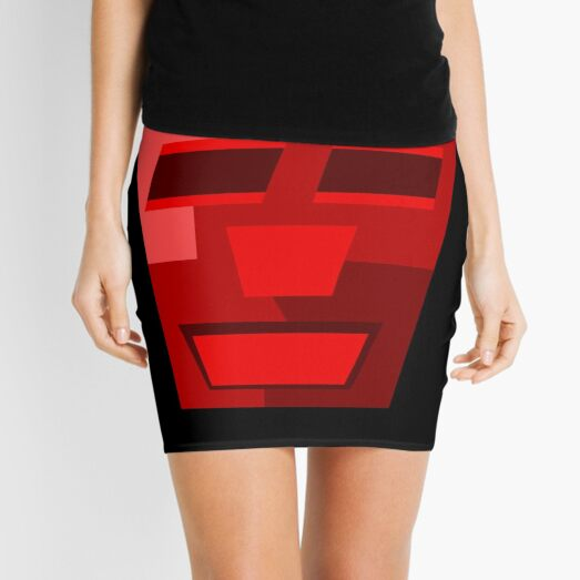 Red Wine (Facemadics colorful contemporary abstract face) Mini Skirt