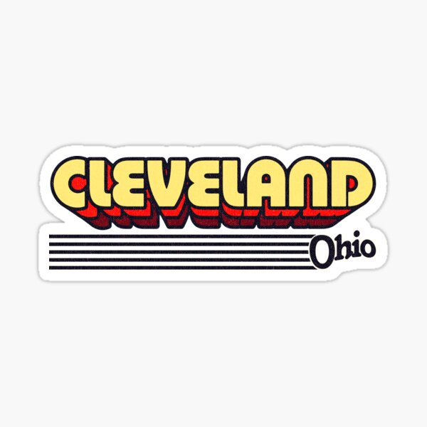 Cleveland, Ohio   Retro Stripes Sticker