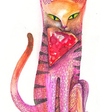pet cat with precious prey by nuanz