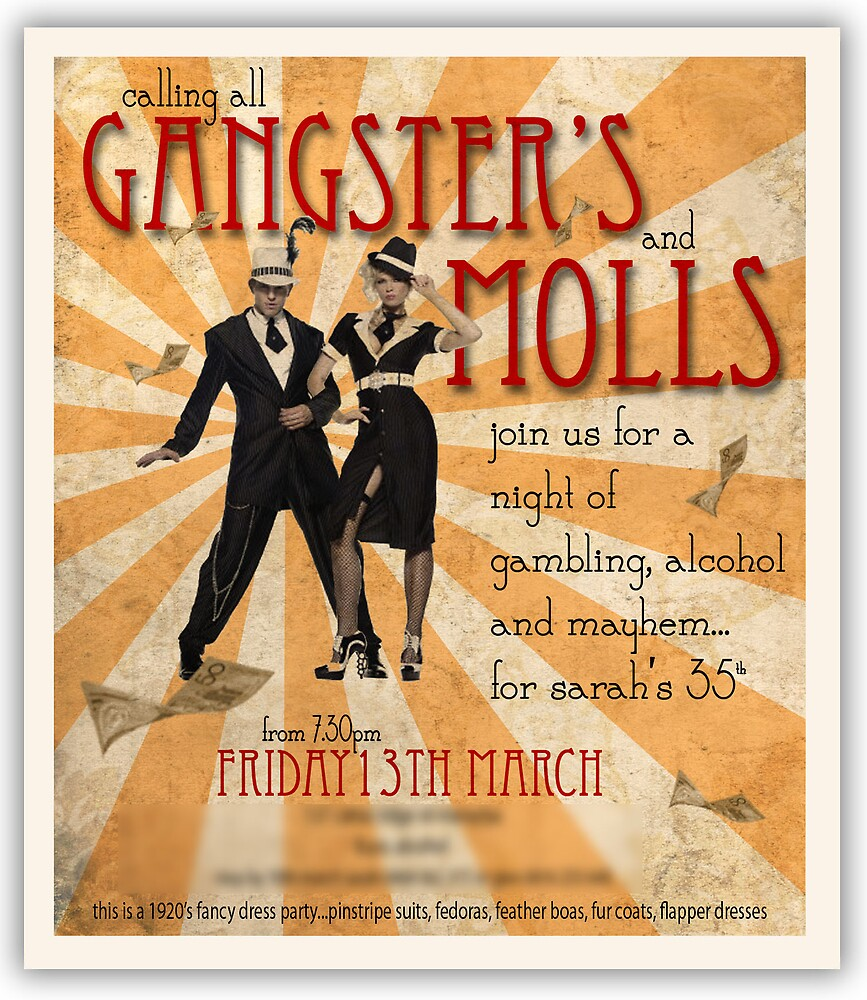 Gangsters and Molls by Sarah Moore – Gangster Party Invitations