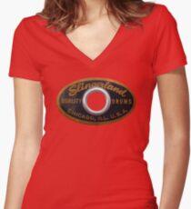 Slingerland Drum Badge Women's Fitted V-Neck T-Shirt