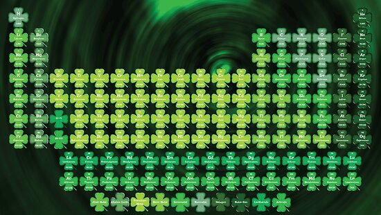 St. Patrick's Day Green Shamrock Periodic Table by sciencenotes