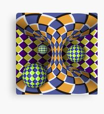 Optical illusion of rotation of three balls around of a moving hyperboloid Canvas Print