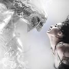 beauty and the beast, beautiful woman kissing a monster by Fernando Cortés