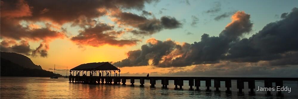 Hanalei Pier Sunset Panorama by James Eddy