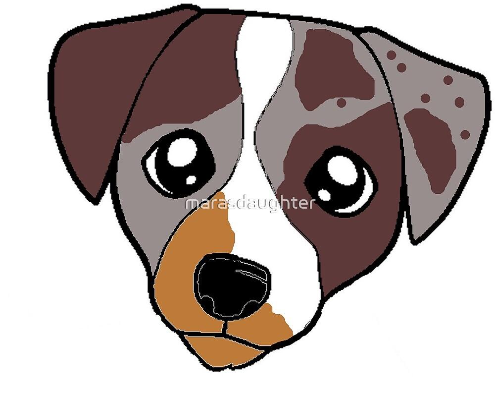 catahoula leopard dog red merle cartoon head by marasdaughter