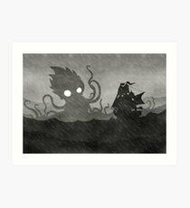 Lámina artística Rainy Ship & Kraken