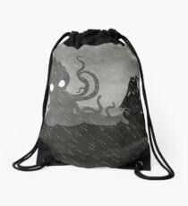 Rainy Ship & Kraken Drawstring Bag
