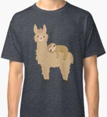 Entzückendes Sloth, das auf einem Lama sich entspannt Classic T-Shirt