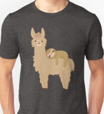 Adorable Sloth Relaxing on a Llama Unisex T-Shirt