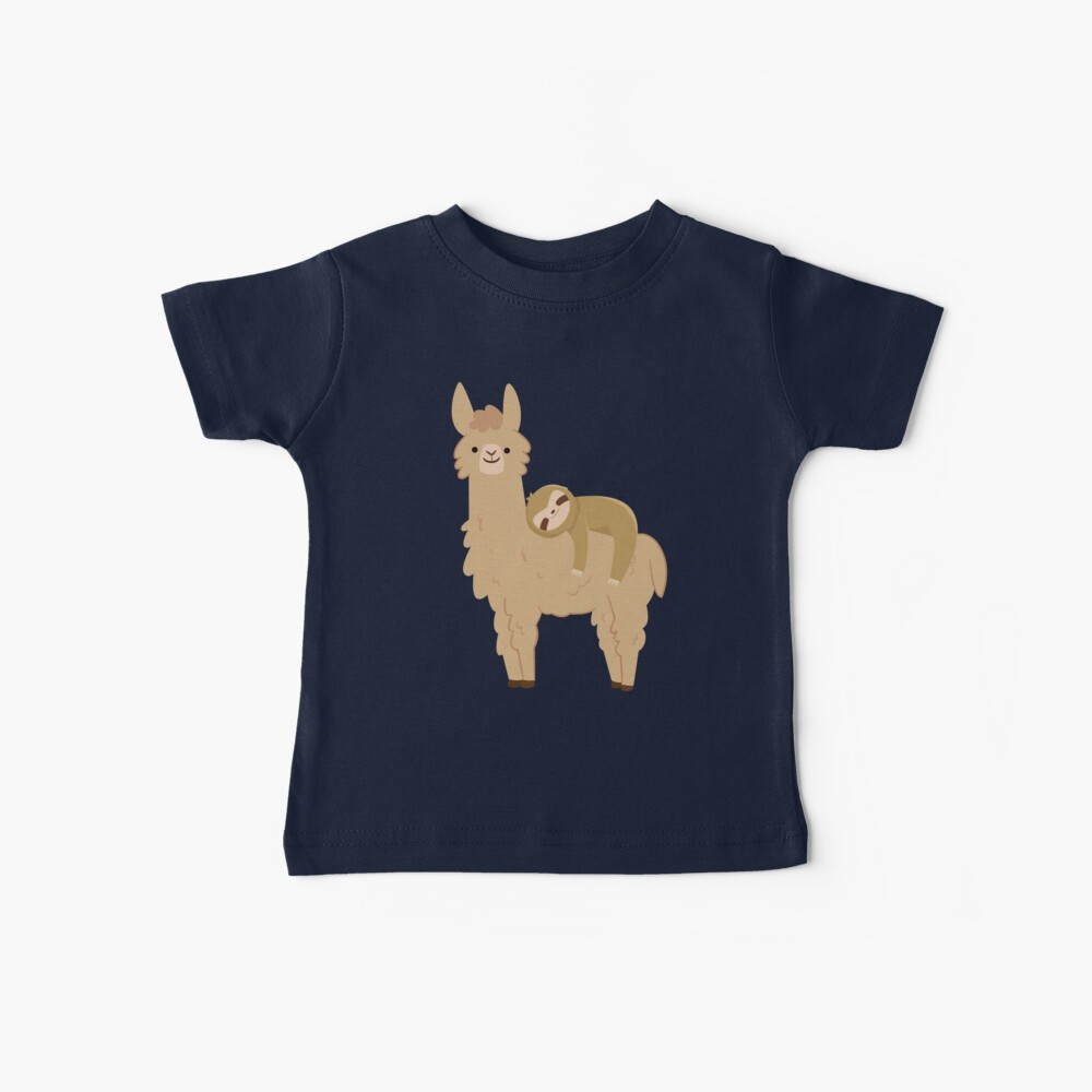 Adorable Sloth Relaxing on a Llama Baby T-Shirt