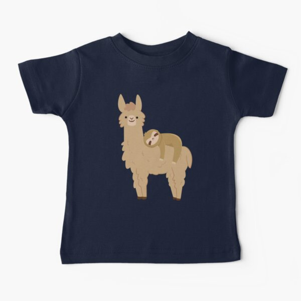 Adorable Sloth Relaxing on a Llama | Funny Llama Sloth Baby T-Shirt