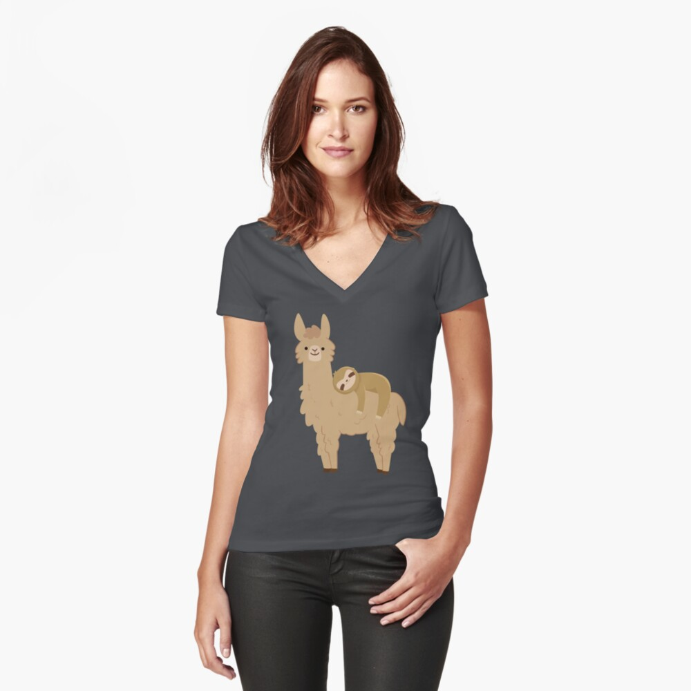Adorable Sloth Relaxing on a Llama Fitted V-Neck T-Shirt