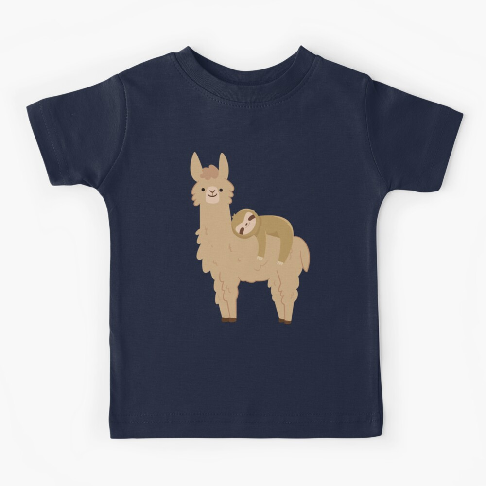 Adorable Sloth Relaxing on a Llama | Funny Llama Sloth Kids T-Shirt