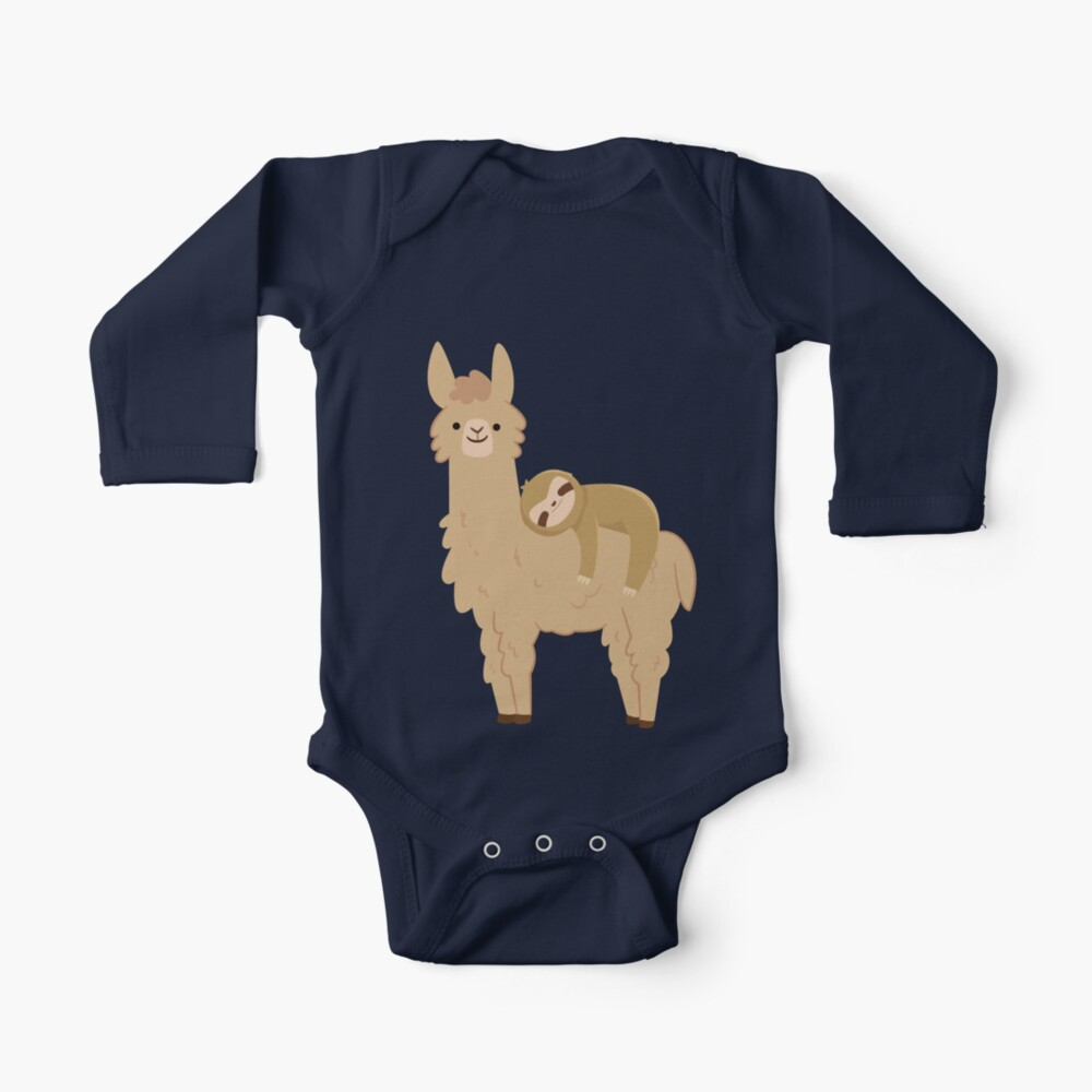 Adorable Sloth Relaxing on a Llama | Funny Llama Sloth Baby One-Piece