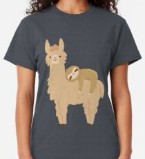 Adorable Sloth Relaxing on a Llama Classic T-Shirt