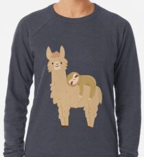 Entzückendes Sloth, das auf einem Lama sich entspannt Leichter Pullover