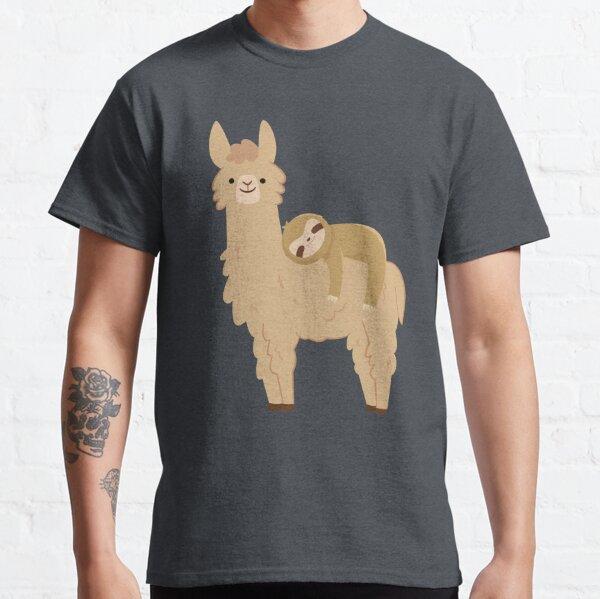 Adorable Sloth Relaxing on a Llama | Funny Llama Sloth Classic T-Shirt