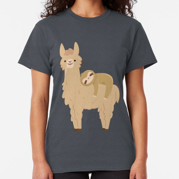 Adorable Sloth Relaxing on a Llama | Funny Llama Sloth Classic T-Shirt