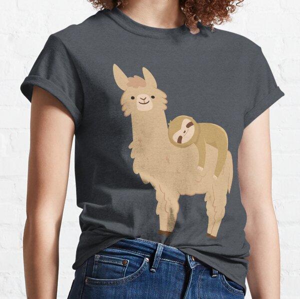 Adorable paresseux relaxant sur un lama | Paresse de lama drôle T-shirt classique