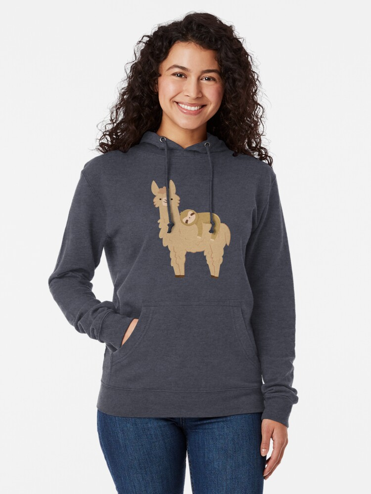 Alternate view of Adorable Sloth Relaxing on a Llama Lightweight Hoodie