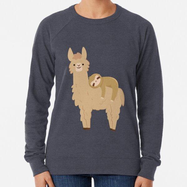 Entzückendes Faultier Entspannen auf einem Lama | Lustiges Lama-Faultier Leichter Pullover