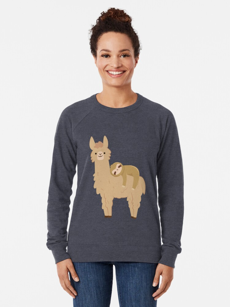 Alternate view of Adorable Sloth Relaxing on a Llama Lightweight Sweatshirt