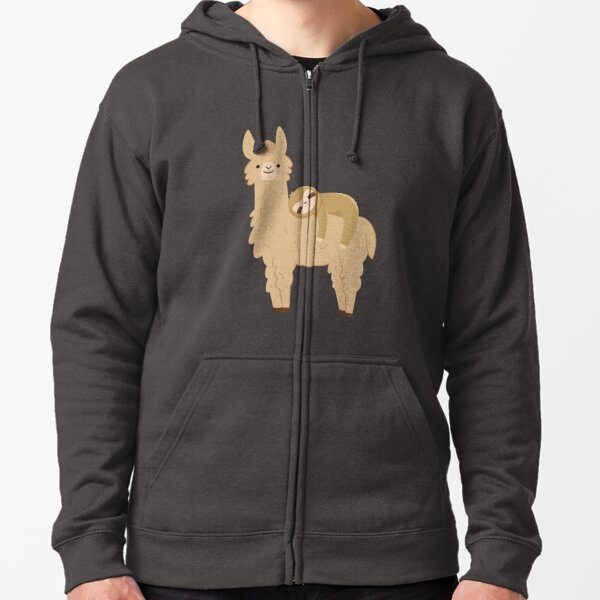 Adorable Sloth Relaxing on a Llama | Funny Llama Sloth Zipped Hoodie