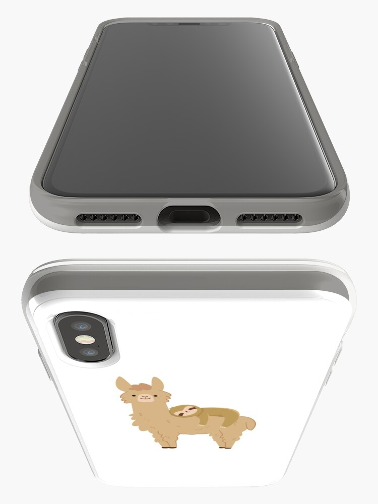 Alternate view of Adorable Sloth Relaxing on a Llama iPhone Case & Cover