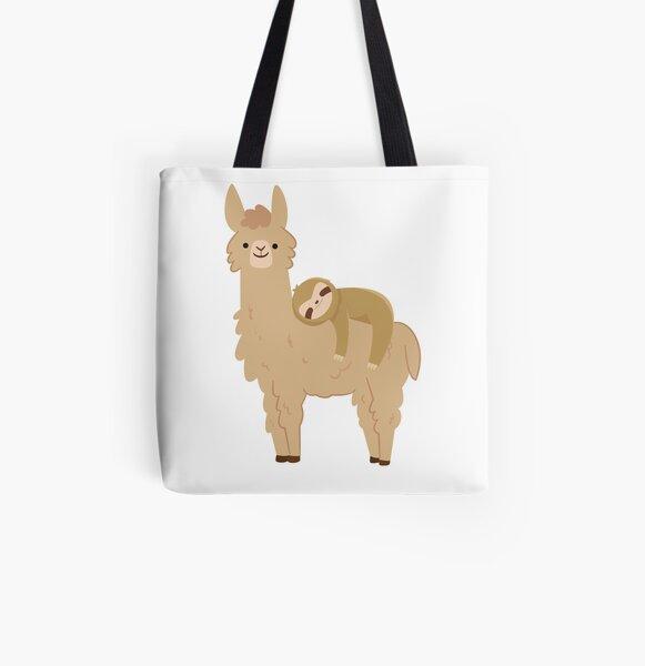 Adorable Sloth Relaxing on a Llama   Funny Llama Sloth All Over Print Tote Bag