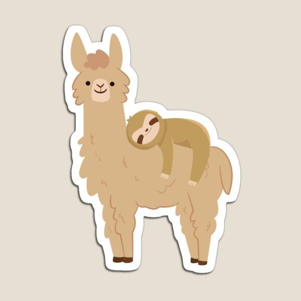 Adorable Sloth Relaxing on a Llama | Funny Llama Sloth Magnet