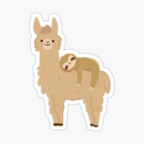 Adorable Sloth Relaxing on a Llama | Funny Llama Sloth Sticker
