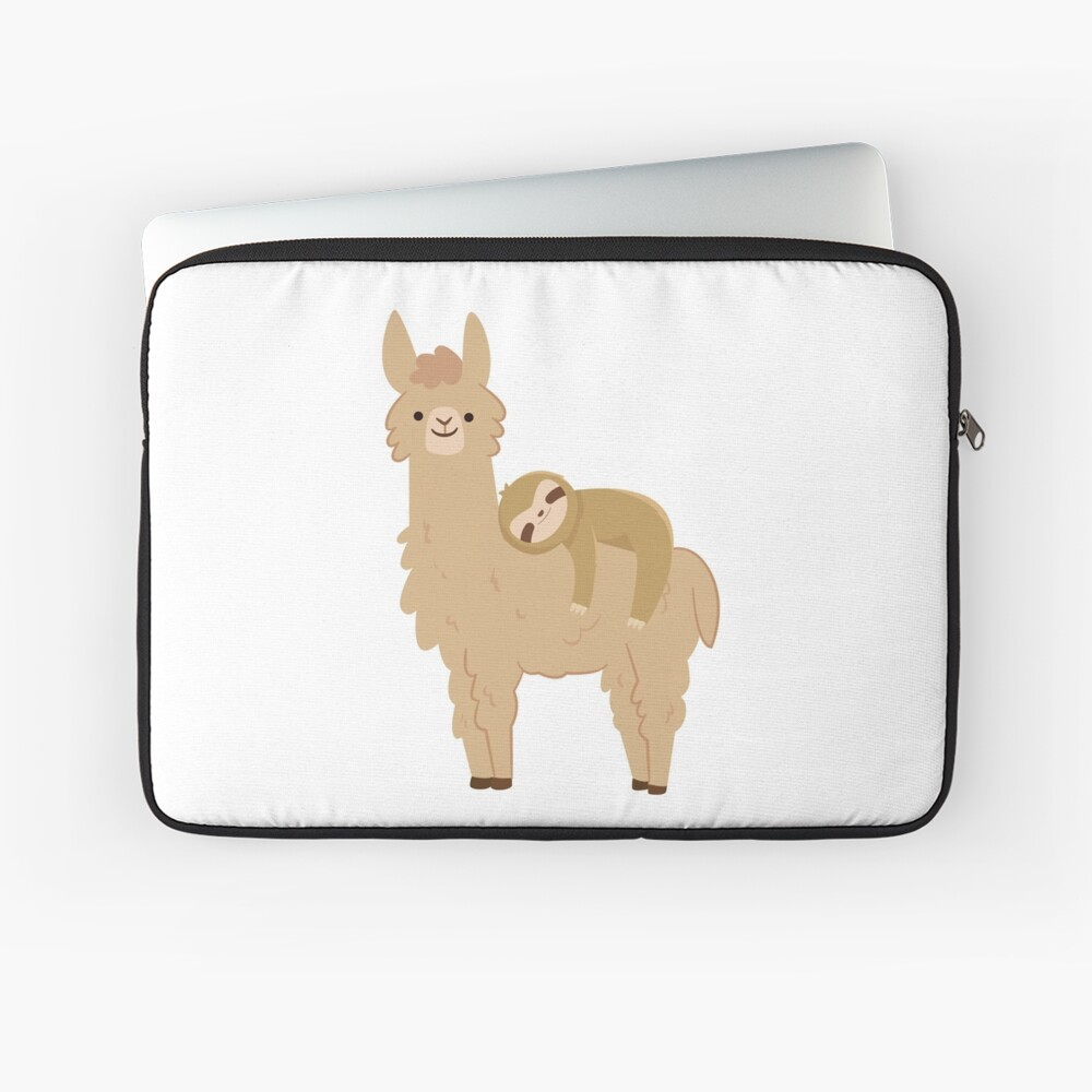 Adorable Sloth Relaxing on a Llama Laptop Sleeve
