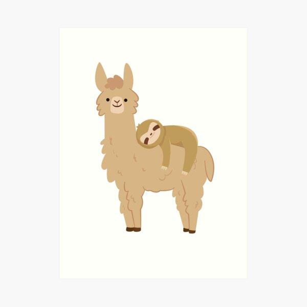 Adorable Pereza Relajándose en una Llama | Perezoso llama divertido Lámina artística
