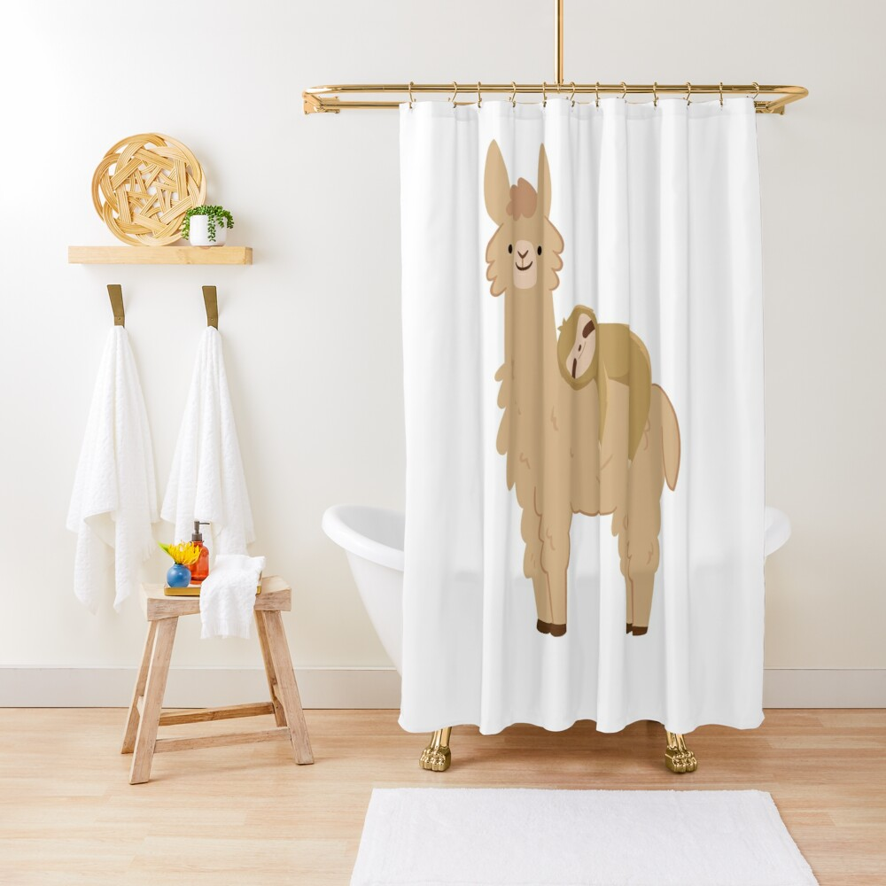 Adorable Sloth Relaxing on a Llama Shower Curtain