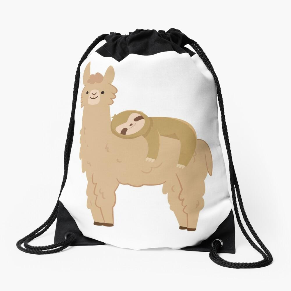 Adorable Sloth Relaxing on a Llama Drawstring Bag