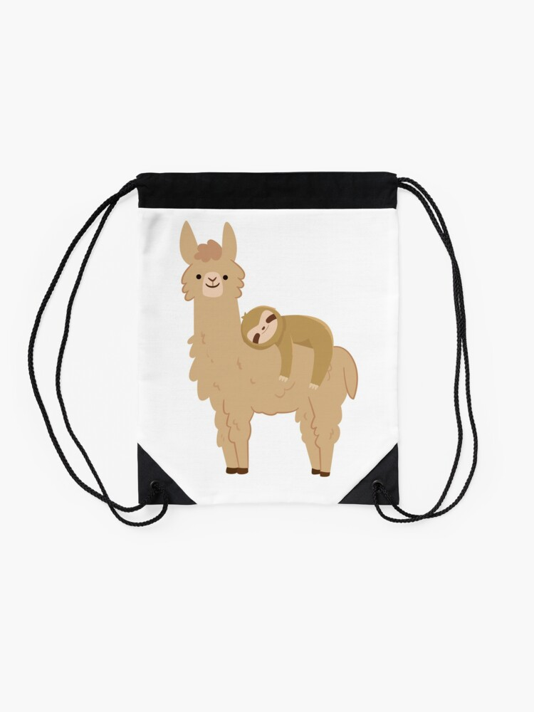 Alternate view of Adorable Sloth Relaxing on a Llama Drawstring Bag