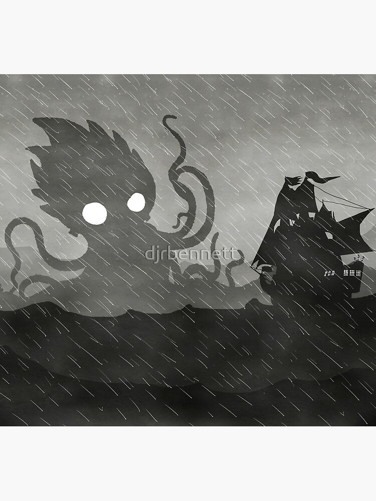 Rainy Ship & Kraken by djrbennett