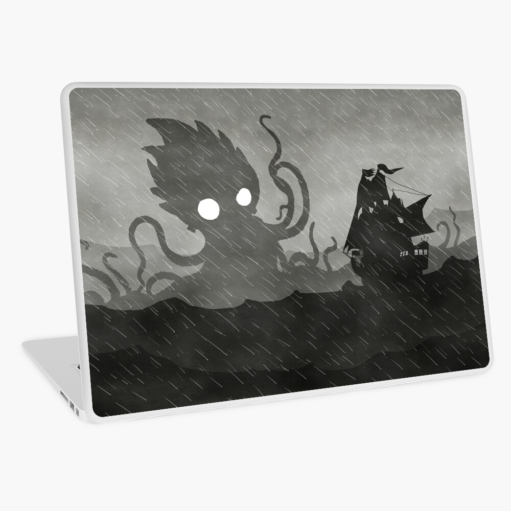 Rainy Ship & Kraken Laptop Skin