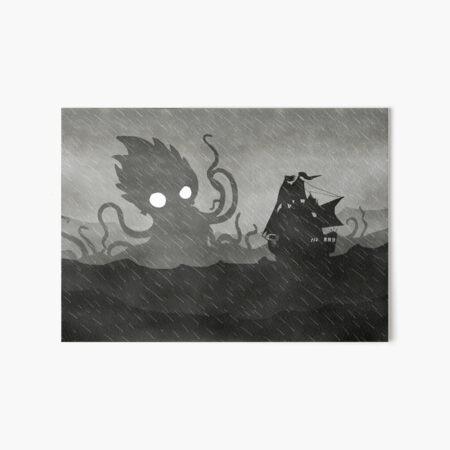 Rainy Ship & Kraken Art Board Print