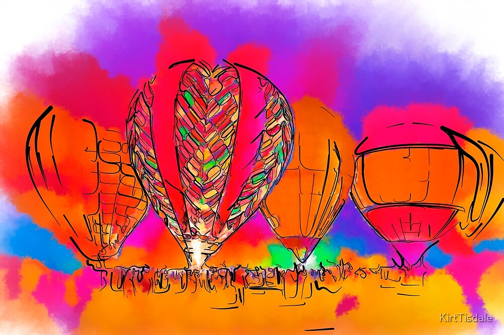 Hot Air Balloons In Subtle Abstract by KirtTisdale