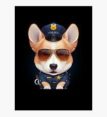 Welsh Corgi Police Officer Photographic Print