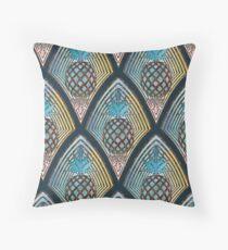 Art Deco Pineapple in Bronze and Blue Floor Pillow