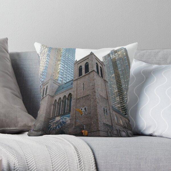 Landmark, New York, Manhattan, Brooklyn, New York City, architecture, street, building, tree, car,   Throw Pillow