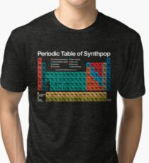 Camiseta de tejido mixto Tabla periódica de Synthpop (fondo oscuro)