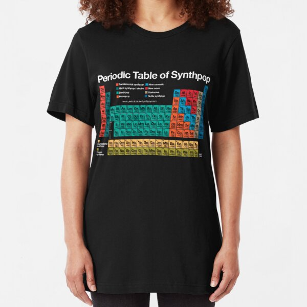 Periodic Table of Synthpop (dark background) Slim Fit T-Shirt
