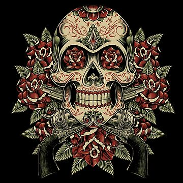 Skull and Roses with Revolvers. Tattoo inspired design. by HINKLE