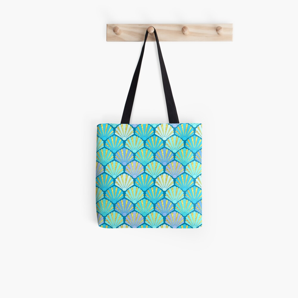 Art Deco Shell Fans in blue, teal, turquoise & gold fit for a mermaid! Tote Bag