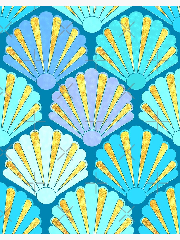 Art Deco Shell Fans in blue, teal, turquoise & gold fit for a mermaid! by MagentaRose